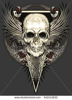skull with feathers wings and patterned circle