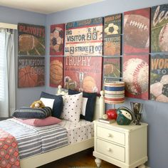 Tween room, decorations. Trophy mfg.- All Sports - Sports Canvas Wall Art | Oopsy daisy.