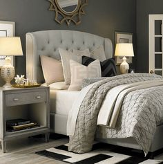 cozy bedroom with tufted upholstered bed, neutral light grey linens w/ soft pink accents, black and white rug - Model Home Interior Design Small Master Bedroom, Cozy Bedroom, Dream Bedroom, Master Bedrooms, Master Suite, Blush Bedroom, White Bedrooms, Bedroom Bed, Winter Bedroom
