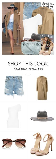 """""""2326. Celebrity Style: Chrissy Teigen"""" by chocolatepumma ❤ liked on Polyvore featuring Oris, R13, Bassike, Helmut Lang, Voom, Janessa Leone, River Island, hat, denimshorts and CelebrityStyle"""