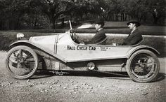 """From Traces of Texas: """"Hall Cycle Car,"""" made in Waco from 1914-1916 by Lawrence Hall. As you can see, it had a motorcycle-like chain to drive the back wheels. Photographed, obviously, by the immortal Fred Gildersleeve."""