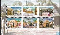 Postage Stamps - Namibia - Traditional houses