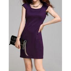 Stylish Scoop Neck Solid Color Cap Sleeve Women's Dress, DEEP PURPLE, M in Casual Dresses | DressLily.com