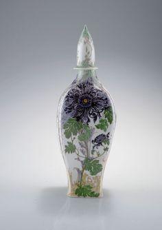 "** Rozenburg, Den Haag, ""Eggshell"" Porcelain covered vase, painted by Schellink, Samuel."