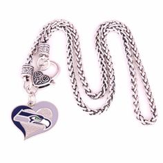 43018de1b Seattle Seahawks Swirl Heart Football Logo Charm Necklace