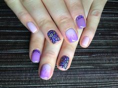 Light lilac ombre mani with nail stickers and rhinestones :: one1lady.com :: #nail #nails #nailart #manicure