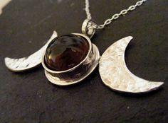 Silver Triple Moon pendant with Smokey quartz by dAgDesigns, £49.50