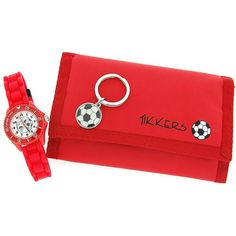 Tikkers Boys Red Football Watch, Keyring & Wallet Gift Set ATK1004