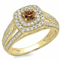 1.10 Carat (ctw) 14K Yellow Gold Champagne & White Diamond Vintage Halo Engagement Ring 1 CT (Size 9). Other ring sizes may be shipped sooner. Most rings can be resized. Items is smaller than what appears in photo. Photo enlarged to show detail. Satisfaction Guaranteed. Return or exchange any order within 30 days. All our diamonds are conflict free. Gemstone : Diamond.