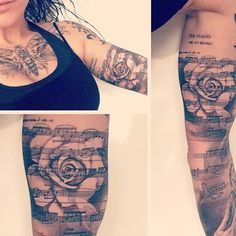 I'd like this with a saying or quote over the rose instead of music. Tattoo by Ellen Westholm