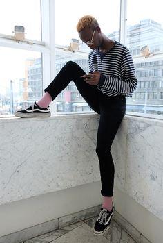 STYLISH OR NAH? #blondhairstyle  #pinksocks  #vans #strips #streetchic #streetstyles #blackblondguy #nike #denim #blackstrips #whitestrips #blackandwhitestrips #guyswithglasses #cuteguys #cuteguyswithglasses #cuteblackguyswithglasses #streetchic #streetstyles #fashiongoals #fashionhair #fashionista #fashionpic #fashionwear  #braids #hairstyles  #blackboyblonde   #malehairstyles #guyblond #mensfashion #helsinki