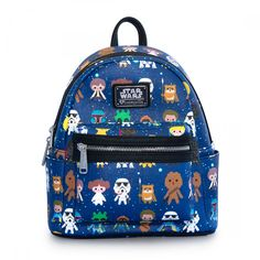 Loungefly X Star Wars Baby Characters Mini Backpack-Looking cute and stylish with the Star Wars Baby Character Mini Faux Leather Backpack from Loungefly. This adorable mini festival backpack features an all-over baby Star Wars characters illustration Chibi Characters, Star Wars Characters, Star Wars Rucksack, Star Wars Karikatur, Star Wars Cartoon, Galaxy Backpack, Cute Mini Backpacks, Mini Mochila, Kawaii Bags