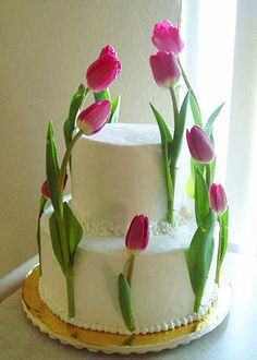 wedding cakes with tulips - Google Search
