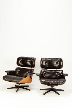 Pair of Eames Lounge Chairs Brown