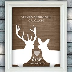 Items similar to Rustic Woodland Wedding Love - Custom Date Name Print - Personalized Wedding Gift - Bridal Shower Gift - Buck and Doe - Unframed on Etsy