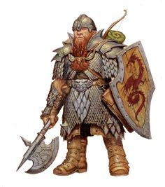 Dwarf wearing full suit of plate and brigandine armor, helm, shield, and holding a spiked axe. Fantasy Portraits, Character Portraits, Fantasy Artwork, Character Art, Character Ideas, Fantasy Dwarf, Fantasy Rpg, Medieval Fantasy, Warhammer Fantasy