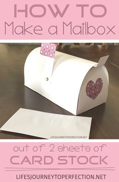 Life's Journey To Perfection: How to Make a Paper Mailbox out of 2 Sheets of Card Stock! (Cool Crafts With Paper) Valentine Boxes For School, Valentines Day Party, Valentine Day Crafts, Valentine Ideas, Funny Valentine, Kids Mailbox, Diy Valentine's Mailbox, Life's Journey To Perfection, Diy Valentine's Box