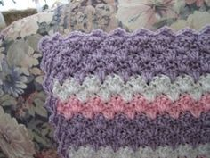 If you're looking for free crochet blanket patterns, try this pretty pastel piece. The Lavender Shell Afghan from Roseanna Beck has a delicate scalloped design and striped pattern that is sure to give you warm fuzzies. Crochet Afghans, Motifs Afghans, Afghan Crochet Patterns, Baby Blanket Crochet, Crochet Stitches, Baby Afghans, Crochet Blankets, Love Crochet, Crochet Hooks