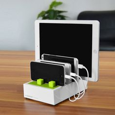 This Charging Dock Station, a desktop USB charging station, is a perfect solution for charging multiple devices at home or in the office. It provides 8A/40W output and 4 USB charging sockets that allow you to store and quickly charge 4 devices simultaneously. Its Velcro system helps to manage and hide charging cables, keeping your tabletop tidy. A smart port which has a built-in smart-output control IC will automatically recognize how many amps are needed to charge each mobile device.