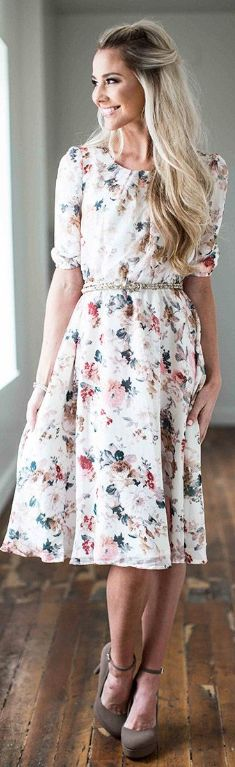Easton Cream Floral Dress