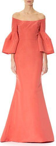 Carolina Herrera Off-the-Shoulder Bell-Sleeve Mermaid Gown, Pink