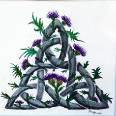 """This is my own design of a Celtic Triangle With what I think should be the Flower of Scotland the """" Thistle. Small Celtic Tattoos, Celtic Tattoo For Women, Celtic Art, Celtic Patterns, Celtic Designs, Outlander, Scottish Thistle Tattoo, Celtic Triangle, Time Tattoos"""