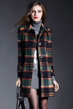 The long sleeved tartan coat features plaid pattern, turn down collar and button down front.