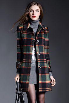 Elegant Tartan Plaid Turn-Down Collar Coat - OASAP.com