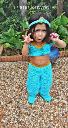 My sweet Sophie modeling crochet Jasmine costume.