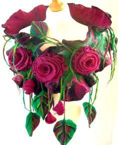 Felted, Wool Jewelry felted woman ART scarf ,shawl-Midnight rose -2 by SkyWool on Etsy https://www.etsy.com/listing/176797447/felted-wool-jewelry-felted-woman-art