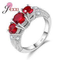JEXXI Brand Valentine's Day Gift Silver Wedding Rings For Women Fashion Round Cubic Zirconia Engagement Band Ring For Brides