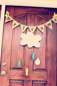 Welcome sign for an April showers birthday