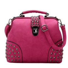 2016 New Rivet Women Leather Handbag Punk Women Shoulder Bags Luxury Handbags Cross-Body Tote Bags PU Leather Bag