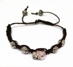 Unisex Black Macrame Skull Bracelet Black String Woven Bracelet Bohemian String Bracelet Shamballa Bracelet Black Cord Bracelet (MC1) by JulemiJewelry on Etsy