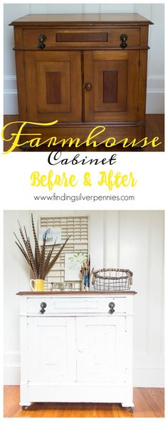 Farmhouse Cabinet Before and After by Finding Silver Pennies and how to get a…