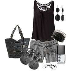 Gray Shorts with black and silver, created by jackie22 on Polyvore