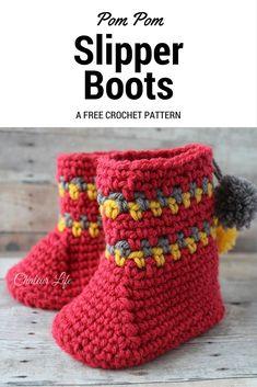 Pom Pom Slipper Boots - Free Crochet Pattern