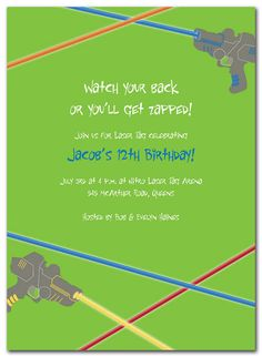Laser Tag - Birthday Invitations by Invitation Consultants. (Item # IC-NW-RLP-393 )