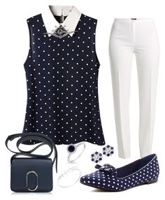 """""""Polka Dots in Navy"""" by sommer-reign ❤ liked on Polyvore featuring Basler, 3.1 Phillip Lim, Restricted, Shay, Allurez and Diana M. Jewels"""