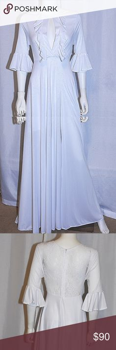 White Jersey Ruffle Formal Dress CONDITION New With Tags This item has  original tags and shows a334c9a5c5143