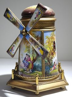 Austrian Painted Large Gilt Bronze & Enamel Windmill Form Music Box 20th century