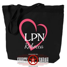LPN Tote Bag Heart - Personalized Zippered Tote For LPNs - Nursing Nurse Large Black Bags