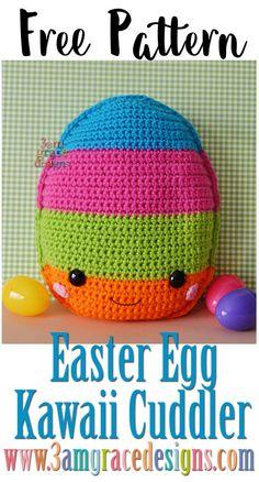 Easter Egg Kawaii Cuddler™ - Free Crochet Pattern : Our free easter egg amigurumi crochet pattern is a perfect decoration for Easter & Spring! Kawaii Crochet, Crochet Food, Crochet Gifts, Cute Crochet, Crochet Yarn, Easter Crochet Patterns, Crochet Patterns Amigurumi, Crochet Dolls, Crochet Pillow