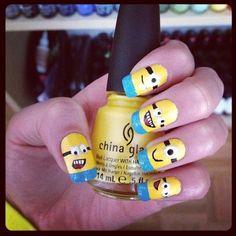 Despicable Me Minion Nail Art Cute Nail Polish, Cute Nails, Pretty Nails, Minion Nail Art, Emoji Nails, Funky Nail Art, La Nails, Halloween Nails, You Nailed It