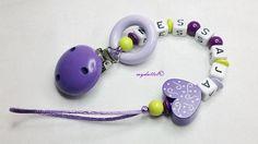 Schnullerkette Wunschname Ring Herz myduttel© md225 von myduttel