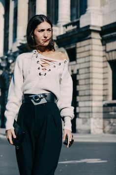 Lace up knits from Paris Fashion Week 2016 #WITCHERYSTYLE