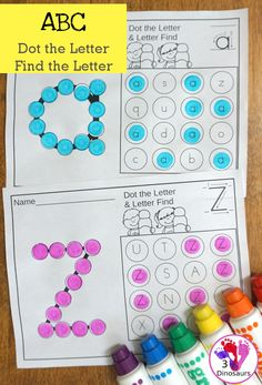 ABC Dot the Letter & Find the Letter | 3 Dinosaurs Preschool Learning Activities, Preschool Printables, Kindergarten Worksheets, Preschool Centers, Free Preschool, Preschool Lessons, Toddler Activities, Kids Learning, Teaching Ideas