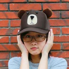 4189dbb0d5e Coffee bear baseball caps with ears creative animal hats for women   hatsforwomenautumn Ear Cap