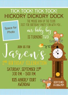 Hickory Dickory Dock Nursery Rhyme Themed 2nd Boy Birthday Invite