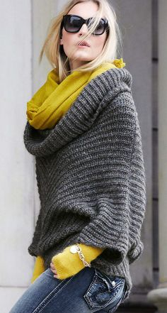 Autumn style: Jeans, black sunnies, cash hair, grey oversized cow neck sweater w mustard coloured undercoat...